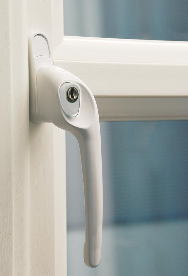 White Push Button Window Handle